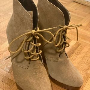 🔅Wedge Ankle Lace Up Boot Brown
